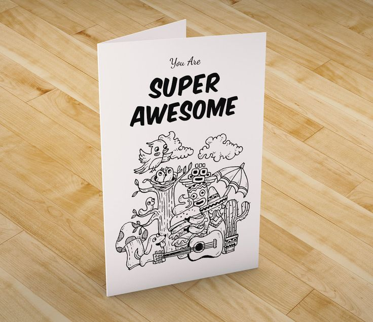 You are super awesome greeting card (G06) by booodle on Etsy