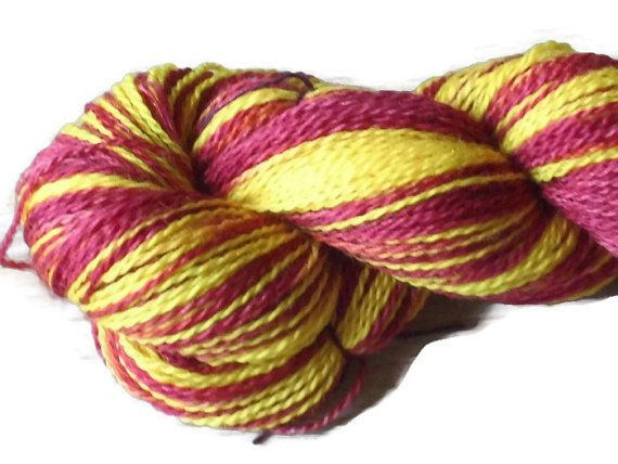 Handdyed Bluefaced Leicester Wool Sock Yarn, Self-striping 2-ply Awtumn Leaves.