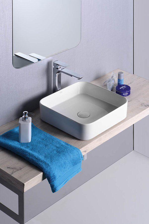 BLADE keramické umyvadlo 40x11,5x40 cm, na desku, bez přepadu, SAPHO E-shop