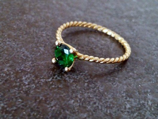 SALE May birthstoneemerald ring gold ring by CandySimpleJewelry