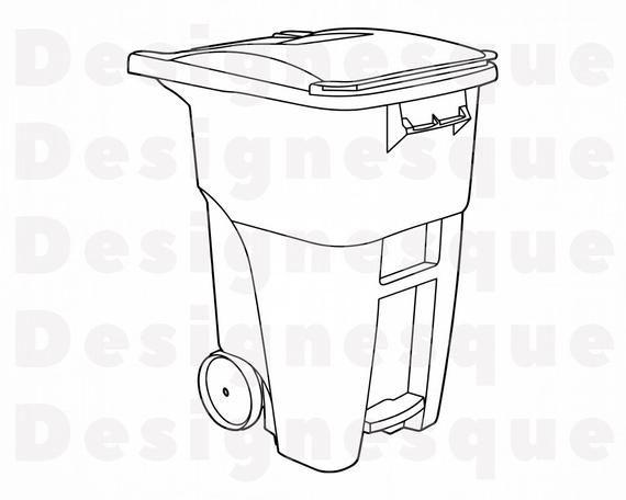 Trash Can Outline 2 Svg Trash Can Svg Garbage Can Svg Etsy Can Clipart Garbage Can Clip Art