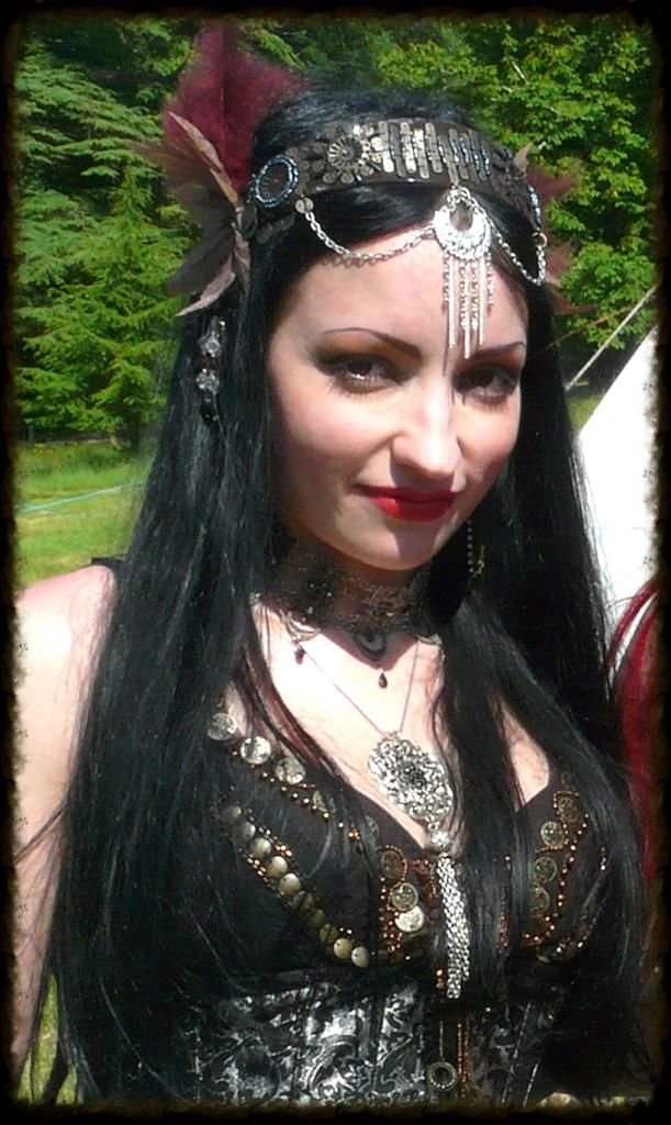 I made this tribal gypsy bellydance headdress specially for an outfit that I wore to a festival.