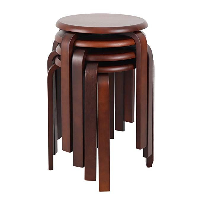 16 Inch Round Wood Stools Backless Chair Top Stackable Wood Stool