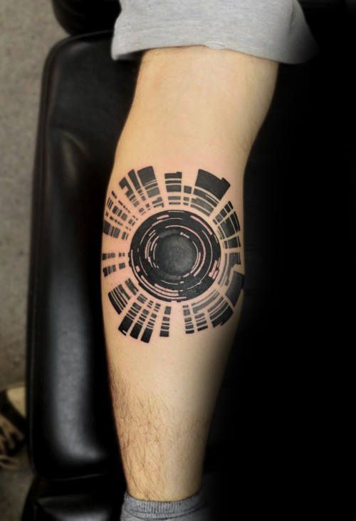 Mens Forearms Camera Lens Tattoo