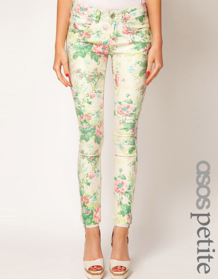 Floral Print Denim is huge this season, be sure to team it up with some sky-high heels!