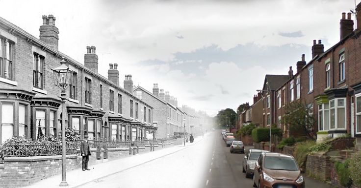 Norton Leees Road - Sheffield around early 1900s. Original image from Picture Sheffield, blended with modern day shot from Google Street View