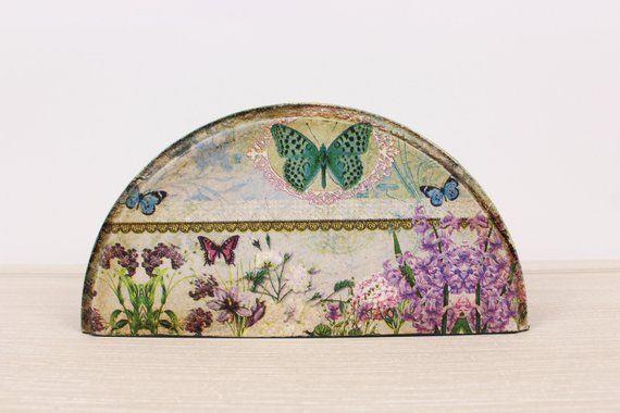 Butterflies Napkin Holder, Kitchen Napkin Holder, Vintage Wooden Napkin Holder, Decoupage Serviette Holder, Shabby Napkin Holder