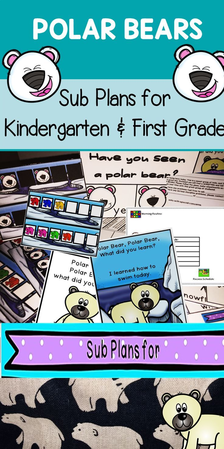Kindergarten and First Grade Emergency Sub Plans for Polar Bears include directions and activities including an emergent reader, math activities, writing, ELA, and craftivity for one whole day! You just need to print and store. #subplans #tpt #emergencysubplans  #iteachk  #iteach1st #oink4pigtales #educationforall #teachers