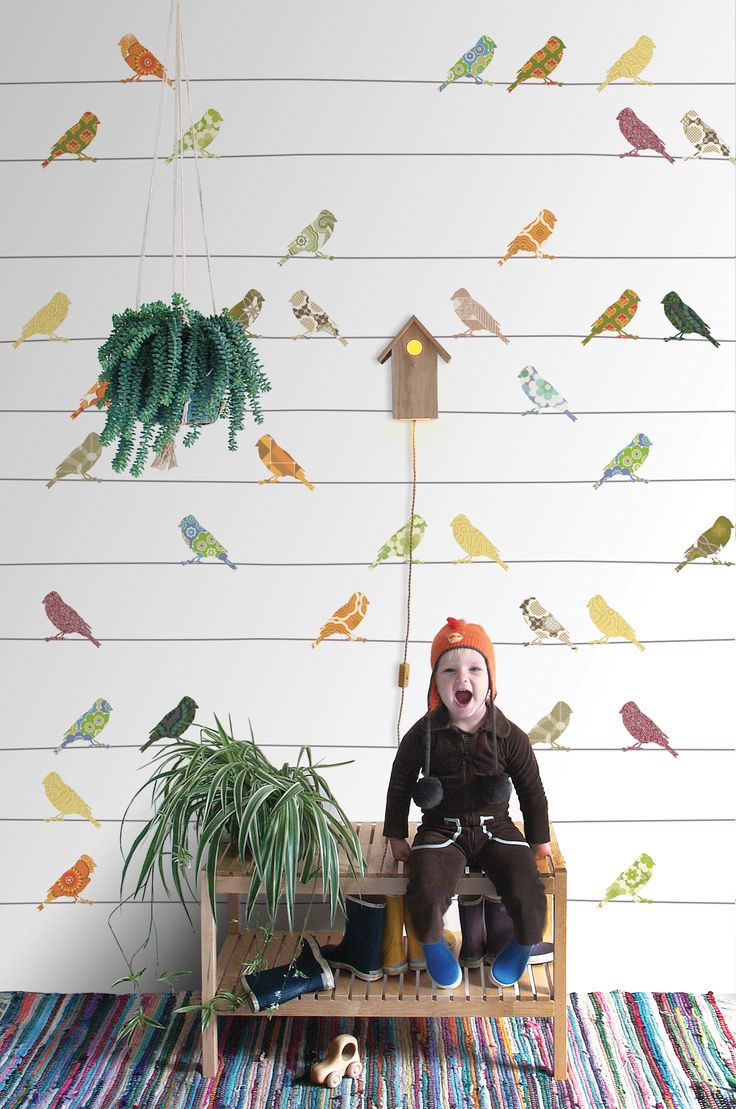 Tweet Tweet - Fun bird wallpaper with a retro vibe - available in mutlicoloured print or groovy pinks - Birds Wallpaper by Inke from Nubie.  http://www.nubie.co.uk/childrens-wallpaper/all-childrens-wallpapers/birds