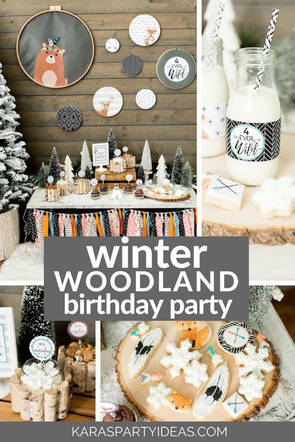 Winter Woodland Birthday Party Via Kara S Party Ideas