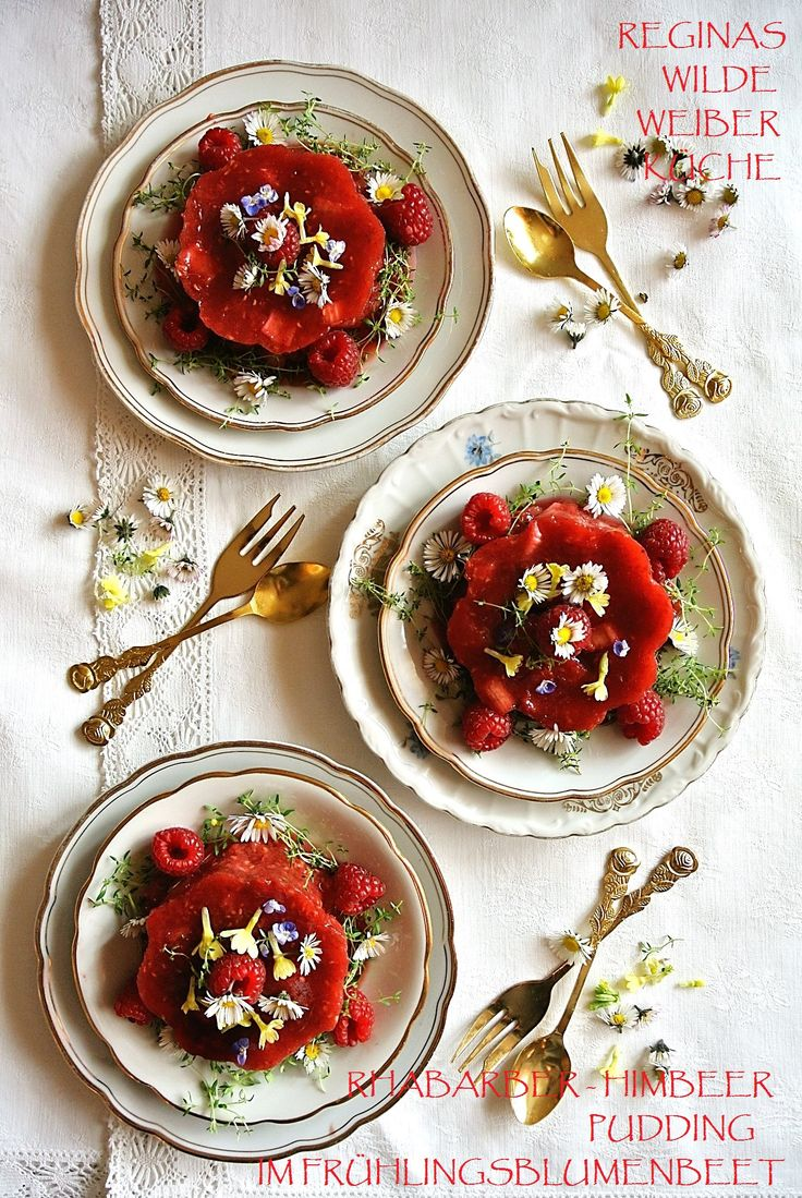 Erdbeer-Rhabarber Pudding im Frühlingsblumenbeet