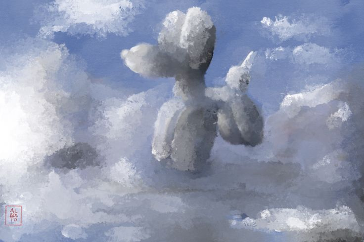Look the world through the eyes of a child and you will live fantastic adventures.  Title: Clouds. Digital drawing (IPad Pro)