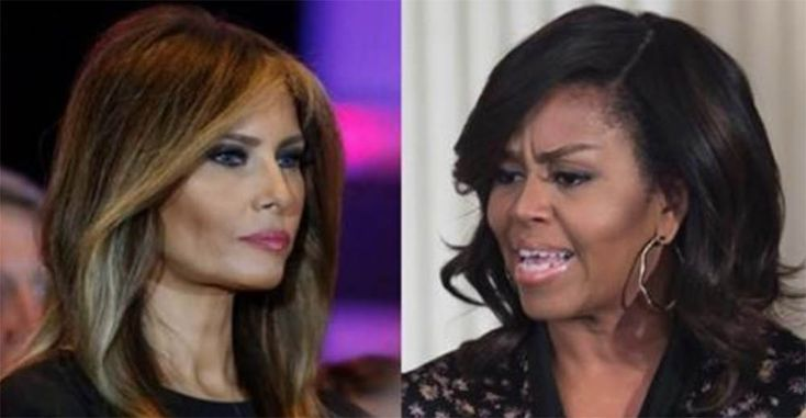 Donald and Melania Trump met with Barack and Michelle Obama. Melania outclassed Michelle as a real AMERICAN FIRST LADY! Daily Mail reported that Melania showed up to the White House dressed in a double breasted black coat, a black skirt, and blackChristian Louboutin pumps. She epitomized elegance