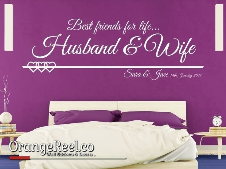 Personalised wall sticker celebrating marriage.  Available in over 20 colours and all personalisation is free!!