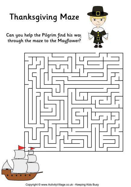 #Thanksgiving Printables - Challenging Thanksgiving maze ...