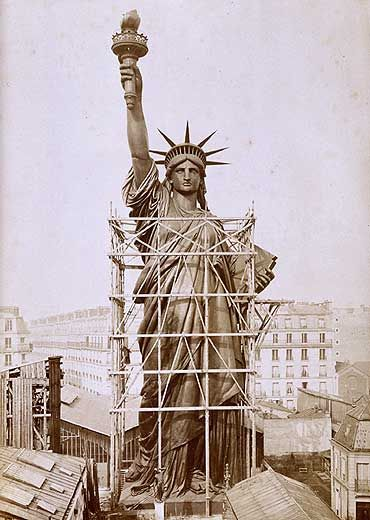 Picture of Liberty being built in France before she headed for the United States