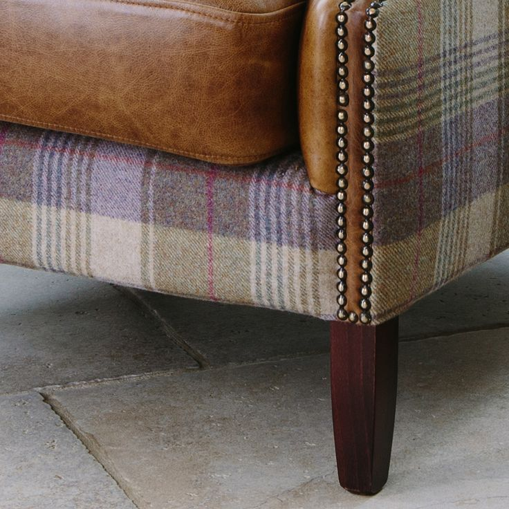 Julius Leather & Wool Wing Armchair from Curiosity Interiors with tartan, tweed fabric.