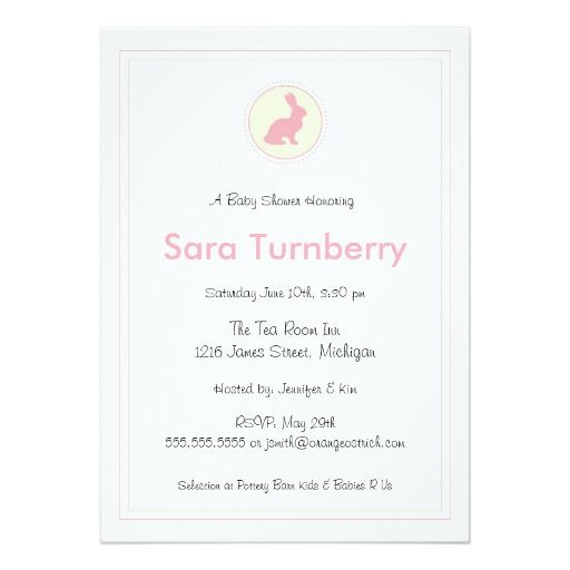 The 429 best bunny baby shower invitations images on pinterest girl baby shower invitation bunny stopboris Image collections