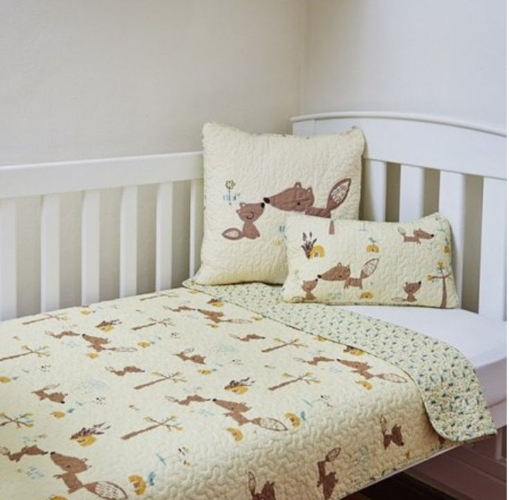 Kids Boy Squirrel Cot Crib Quilt Coverlet Baby Blanket & Cushion Set 100% Cotton
