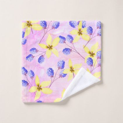Elegant watercolor floral pattern small towel - home gifts ideas decor special unique custom individual customized individualized