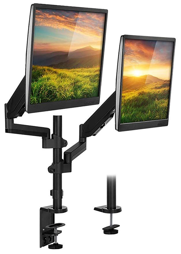 Amazon Com Mount It Stackable Dual Monitor Desk Mount Height Adjustable Vesa 75 And 100 Vertical Monitor S Dual Monitor Arms Monitor Arms Dual Monitor Desk