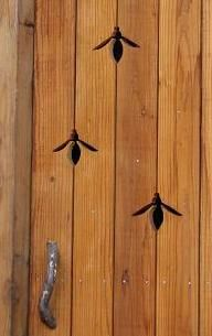 ≗ The Bee's Reverie ≗ bee peepholes in wooden door