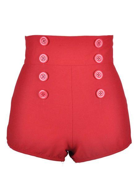 Novità moda 2015 Pantaloncini Donna rossi casual in raso, cotone Woman Red Short