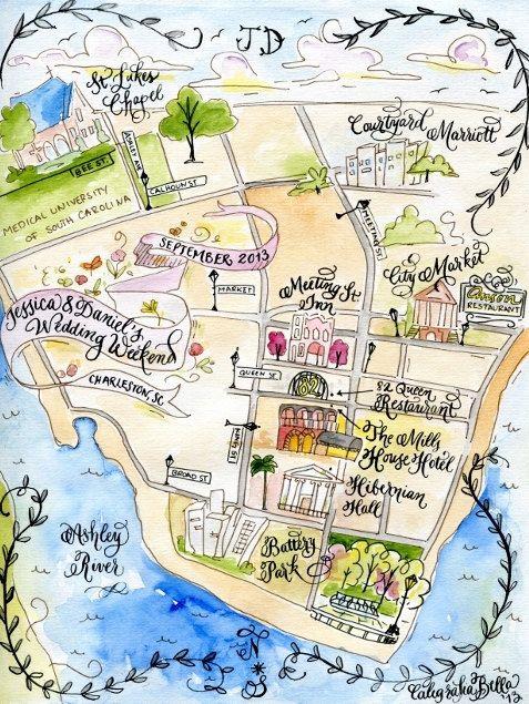 Custom Wedding Map- Calligraphy and Watercolor