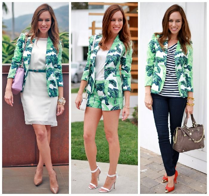 Sydne Style how to wear a palm tree print leaf printed blazer different ways Juicy Couture Palmetto jacket