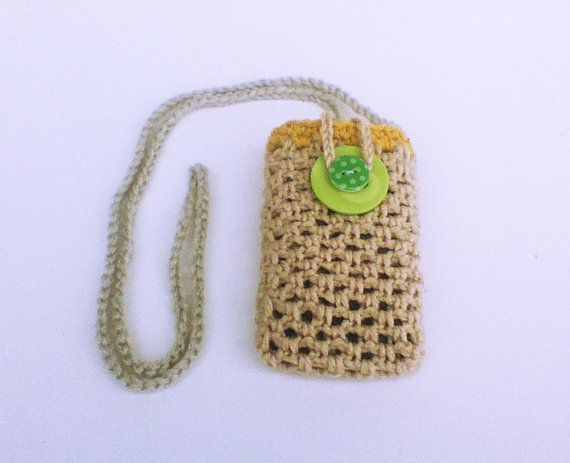 Hey, I found this really awesome Etsy listing at https://www.etsy.com/listing/180375697/tan-crochet-necklace-bag-cellphone-purse