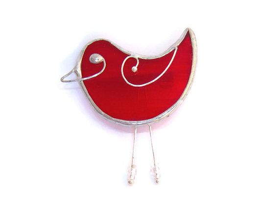 Chirpy Red Bird Brooch Pin. Handmade glass jewellery for