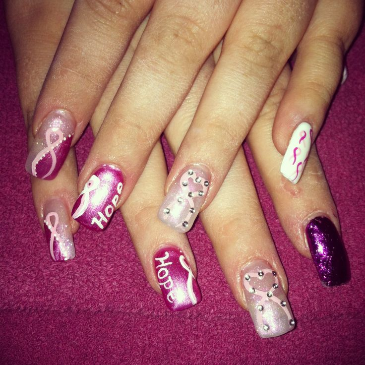 T Cancer Awareness Nail Art Pink Ribbon