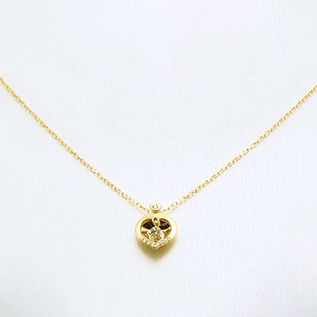 K18イエローゴールド ダイヤネックレス ハーフオープンキュービックダイヤデザイン ダイヤ:0.11ct