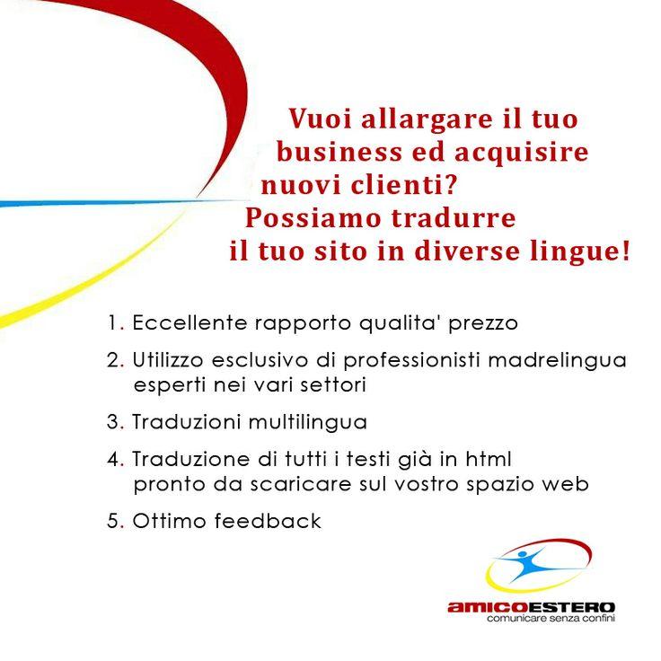 Vuoi allargare il tuo business ed acquistare nuovi clienti? Possiamo tradurre il tuo sito in diverse lingue!