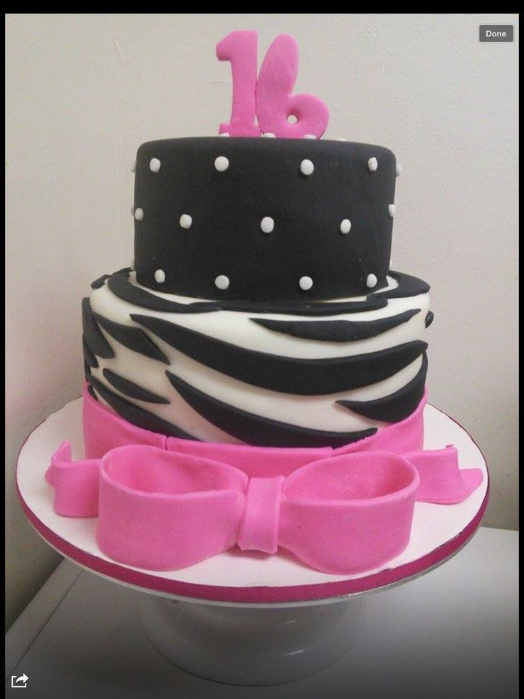 Fondant Sweet 16 cake zebra and polka dot