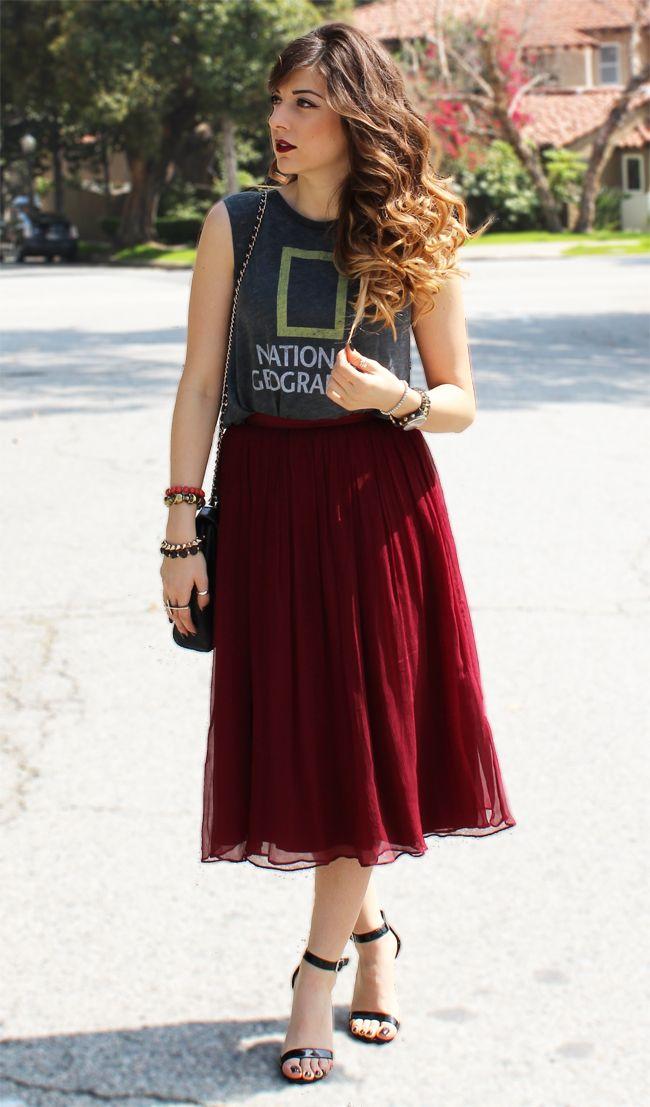 graphic tee & pleated midi skirt.