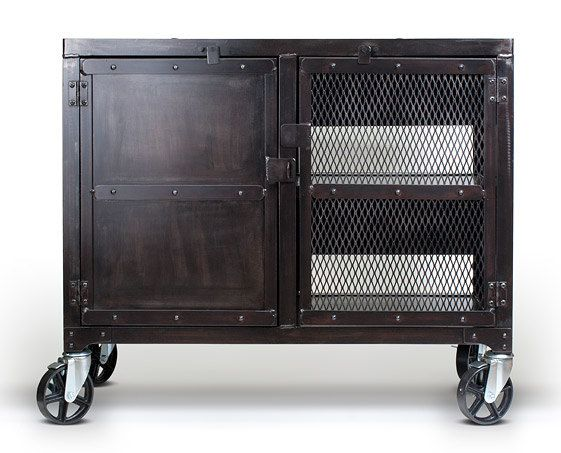 Industrial Steel Cabinet With Casters Wine Liquor Cart
