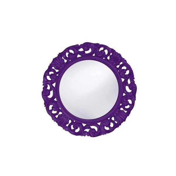 Howard Elliott Glendale 26 Round Royal Purple Wall Mirror (1 740 SEK) ❤ liked on Polyvore featuring home, home decor, mirrors, mirror, handmade home decor, fabric home decor, round mirror, howard elliott and howard elliott mirror
