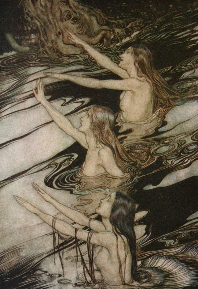 The Rhine Maidens from illustrations for Wagner's Ring Arthur Rackham at Art Passions