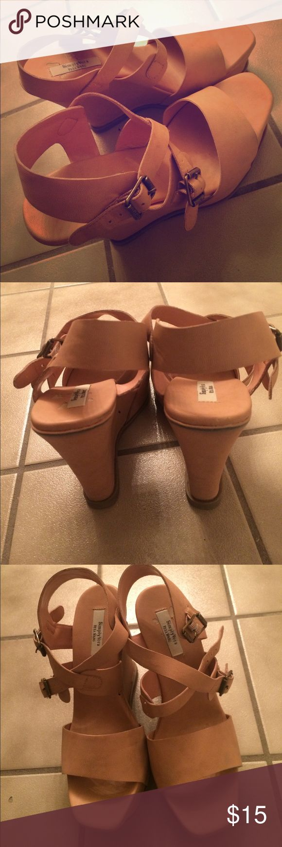 Simply Vera Vera Wang women's nude wedges Simply Vera Vera Wang women's nude wedges in size 8.5 (US). Some wear and mild denim stains on the back (shown in photos), but overall a great tall wedge to dress up an outfit for a night out or wedding. Simply Vera Vera Wang Shoes Wedges