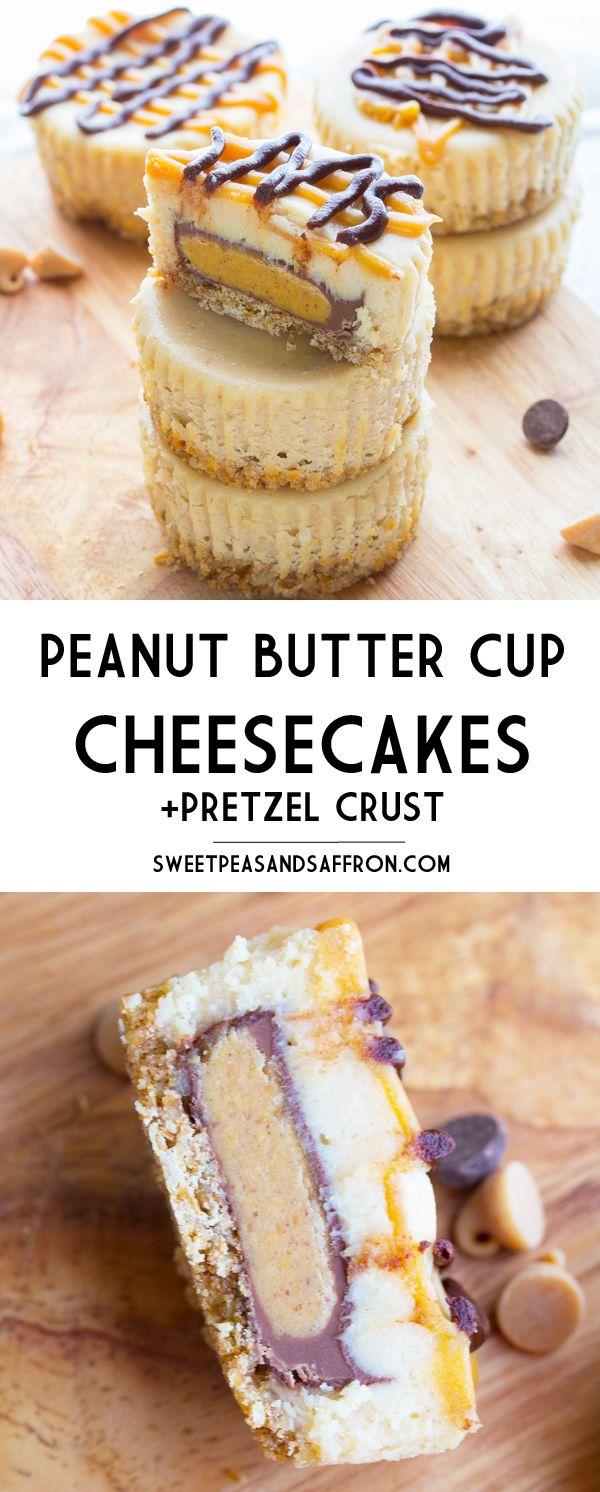 Peanut Butter Cup Mini Cheesecakes on a Pretzel Crust- stuffed with full-sized PB cups! sweetpeasandsaffron.com @necie83