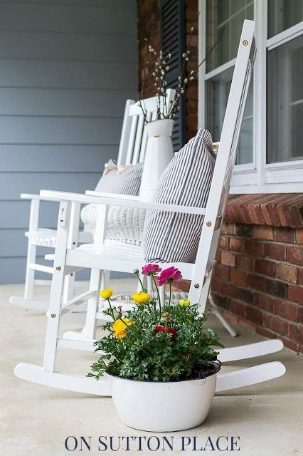 adding farmhouse touches to a traditional home, outdoor furniture, outdoor living, painted furniture, porches