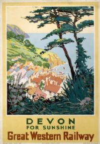 Devon for Sunshine, Vintage Great Western Railways Travel Poster Print