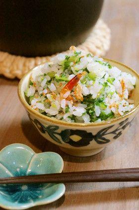 桜海老と大根葉の彩り菜飯*