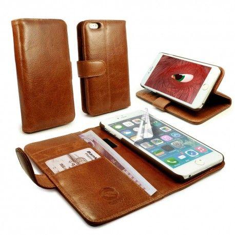 Apple iPhone 6 Plus Ruskea Tuff-Luv Nahkakotelo  http://puhelimenkuoret.fi/tuote/apple-iphone-6-plus-ruskea-tuff-luv-nahkakotelo/