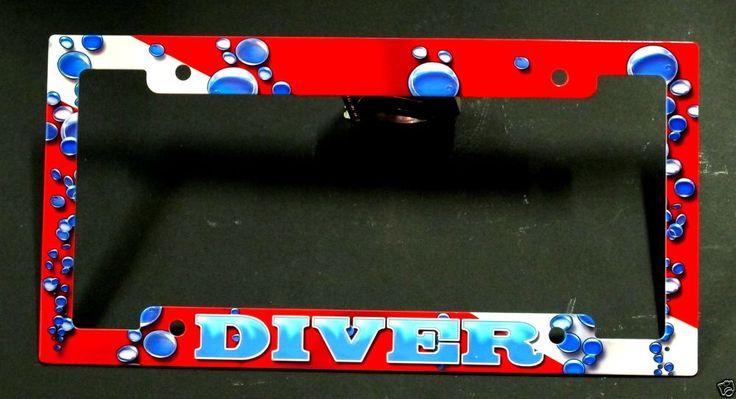 Scuba Dive flag metal license plate frame scuba diving equipment red with bubble #InovativeScuba  sundancedivers.com