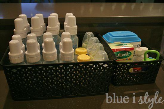 Organizing baby bottles on the kitchen counter {blue i style blog}