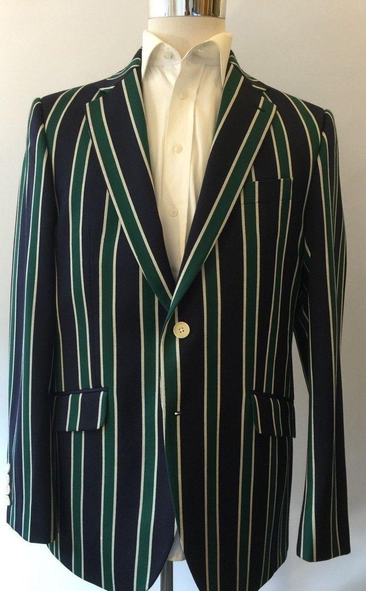 SALE! CHARLES TYRWHITT NEW $795 Striped Blue Green Wool Blazer ...