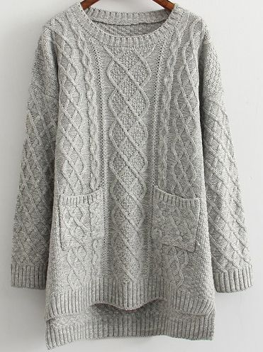 Dip Hem Cable Knit Pockets Sweater | You can find this at shein.com | Spring Fashion