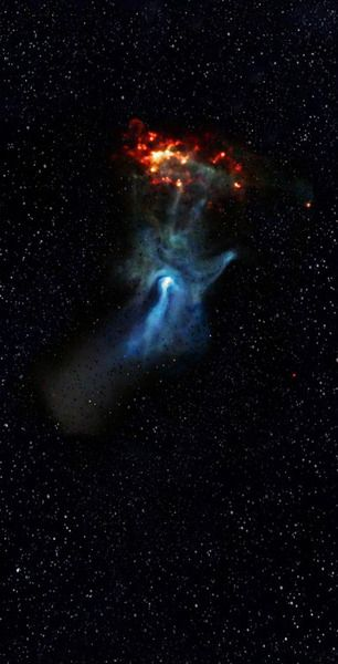 The 'Hand of God' Nebula. Was so ready for this to be a crock or over photoshopped - but NASA website confirms! This is a real Nebula formation - never seen one look perfectly like its namesake!